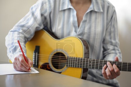 Song writing with acoustic guitar