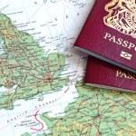 British passport and map of Europe...