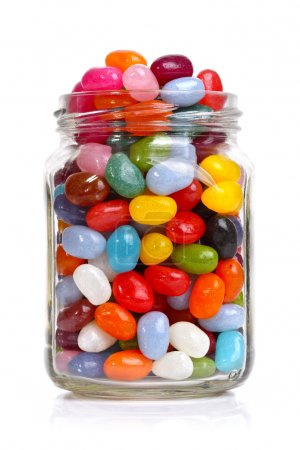 Photo for Jelly beans sugar candy snack in a jar isolated on white - Royalty Free Image