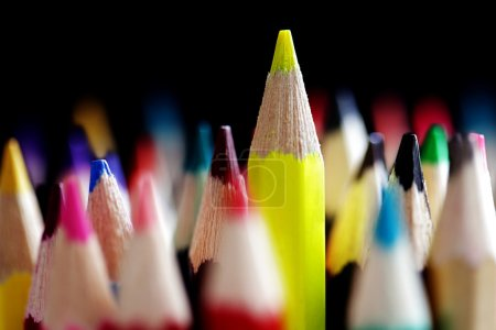Photo for Standing out from the crowd concept with colored pencils - Royalty Free Image