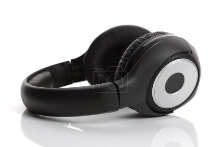Photo for Black wireless headphones on white background - Royalty Free Image