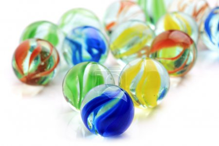 Photo for Colourful toy marbles on white background - Royalty Free Image