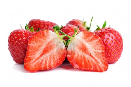 Photo for Fresh ripe red strawberries isolated on white - Royalty Free Image