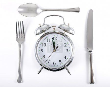 Alarm clock with knife fork and spoon for mealtime...