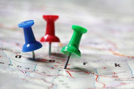 Photo pour Destination de voyage marquée avec les clics-infos - image libre de droit