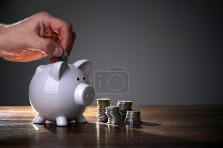 Photo for Inserting a coin into a piggy bank - Royalty Free Image