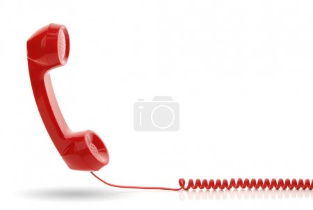 Photo for Red old fashioned telephone receiver isolated on a white - Royalty Free Image