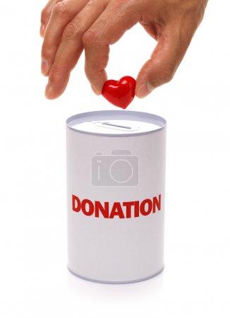 Photo pour Boîte de donation avec le concept de cœur pour don de charité ou orgue - image libre de droit