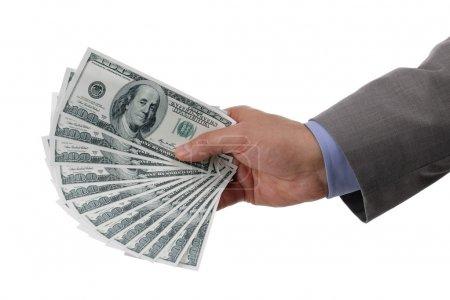 Photo pour Homme d'affaires détenant la notion de factures de cent dollars pour payer, richesse des entreprises et opérations bancaires - image libre de droit