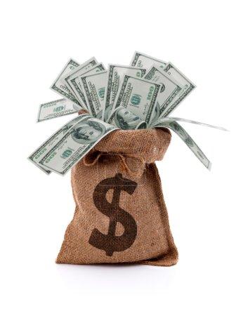 Photo pour Papier monnaie américaine cent dollars billets d'argent dans un sac de toile de jute - image libre de droit