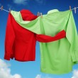 Laundry hanging on a clothesline concept for love ...