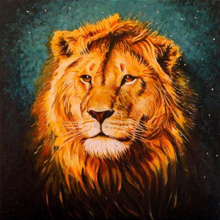 Photo pour Le Lion de Juda, Aslan. Peinture acrylique sur toile - image libre de droit