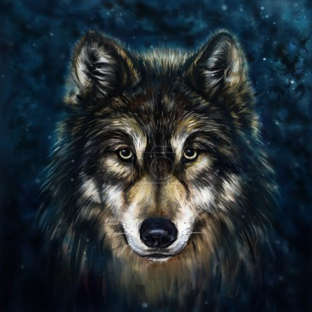 Photo for Wolf head digital painting - Royalty Free Image