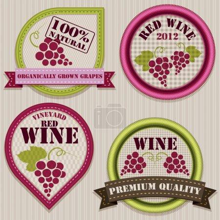 Ilustración de Etiquetas de vino patchwork - Imagen libre de derechos