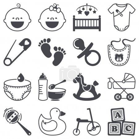 Icons set: Babies