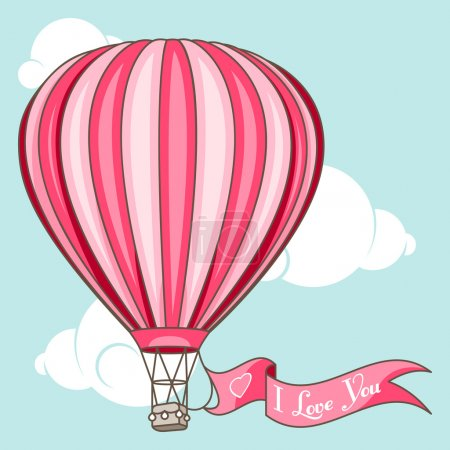 """Illustration for Hot air balloon with banner """"I love You"""" - Royalty Free Image"""