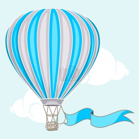 Illustration for Hot air balloon with banner - Royalty Free Image