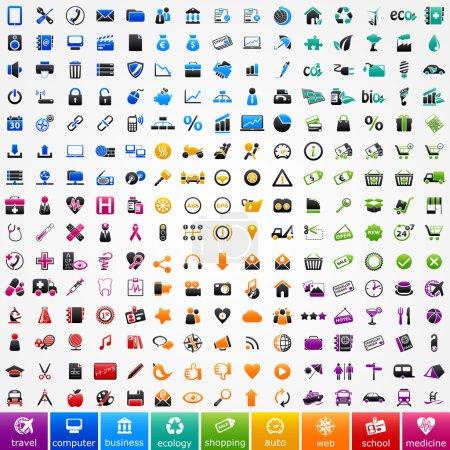 Illustration pour Définir des icônes colorées : voyage, ordinateur, entreprise, écologie, faire du shopping, automobile, web, école et médecine - image libre de droit