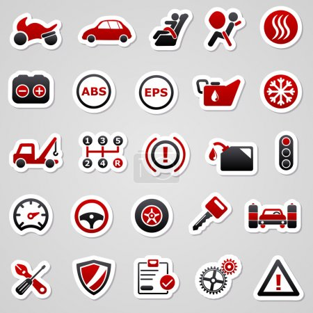 Automotive red stickers.
