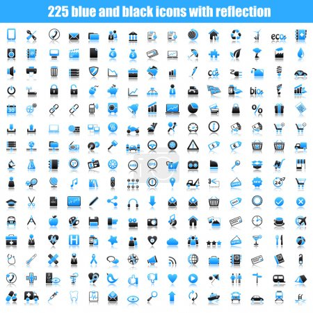 Set of black and blue icons with reflection.