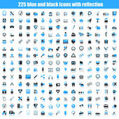 Set of black and blue icons with reflection