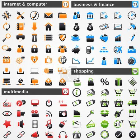Illustration pour Icônes prêtes. Internet et informatique, multimédia, affaires et finances, et concepts d'achats . - image libre de droit