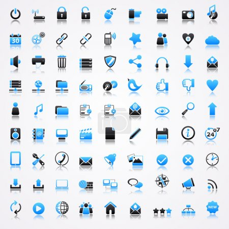 Technology blue icons with reflection