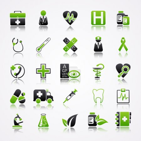 Icons set with reflection: Medicine...