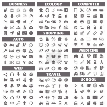 Basic icons set: Business, Auto, Web, Ecology, Sho...
