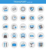 Icons set about transport Flat icons inside circles