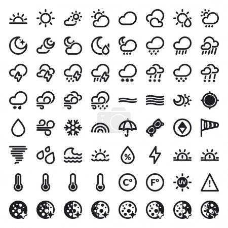 The Weather flat icons. Black