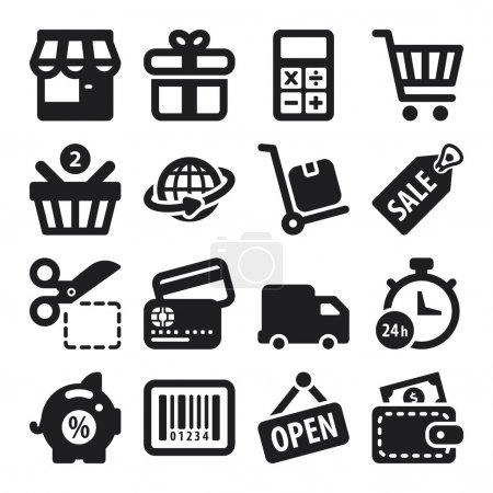 Illustration pour Ensemble d'icônes plates noires sur le shopping - image libre de droit