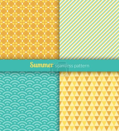 Illustration for Summer seamless patterns. Blue and yellow fabric. - Royalty Free Image