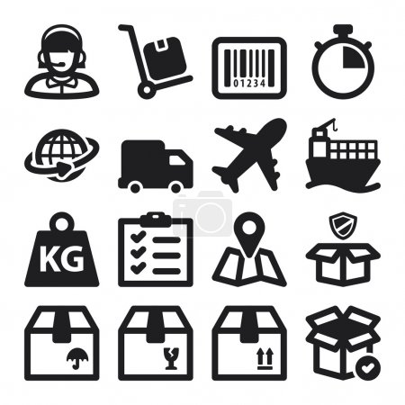 Illustration for Set of black flat icons about shipping - Royalty Free Image