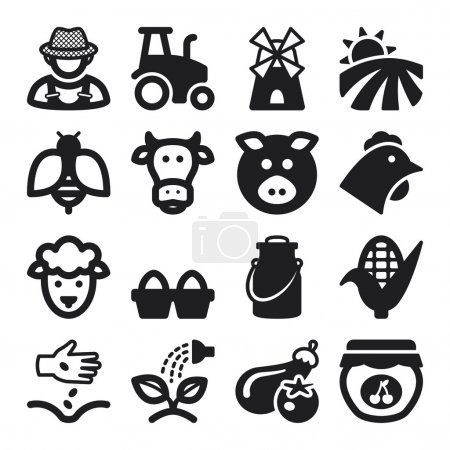 Illustration for Set of black flat icons about farming - Royalty Free Image
