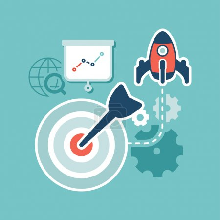 Illustration for Flat design. Web marketing. Search engine optimization - Royalty Free Image