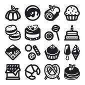 Desserts flat icons Black