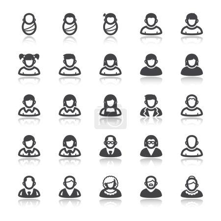 Illustration pour Ensemble d'icônes plates avec réflexion sur les gens. L'âge. Stade de vie - image libre de droit