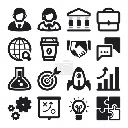Illustration for Set of black flat icons about business. Start up - Royalty Free Image