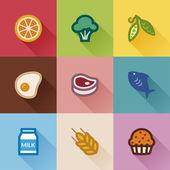 Skupiny potravin. plochý design