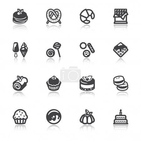 Desserts flache Symbole mit Spiegelung