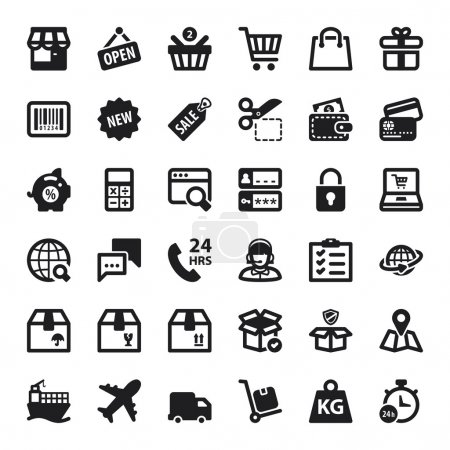 Illustration for Set of black flat icons about shopping online - Royalty Free Image