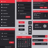 Flat design UI - vertical menu login register dropdown menu weather user box search buttons radio checkbox calendar and dialog box
