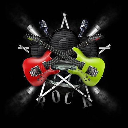 Photo for Collage of music with guitars and drum - Royalty Free Image