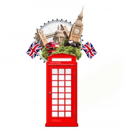 Photo pour Collage de touristique de Londres, Grande-Bretagne, avec des attractions de Londres - image libre de droit