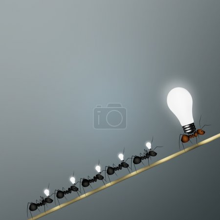 Photo for The team ants follows its leader, behind the idea - Royalty Free Image