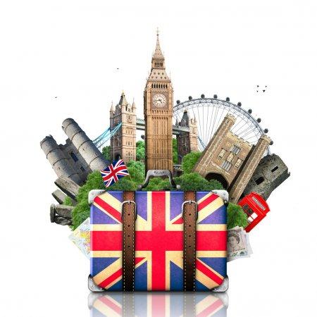 Photo pour Angleterre, monuments britanniques, voyage et valise rétro - image libre de droit