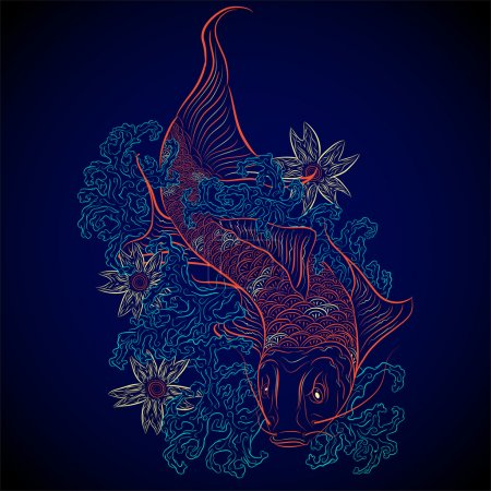Illustration for Neon japanese fish koi - Royalty Free Image