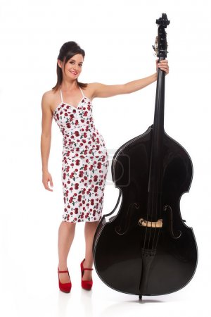 Beautiful Rockabilly Girl with Double Bass