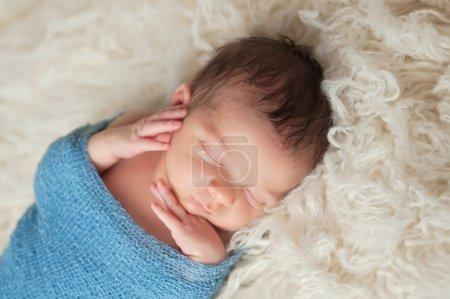Portrait of a Sleeping Newborn Baby Boy